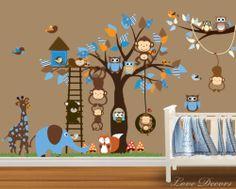 MONKEY WALL STICKERS ANIMAL OWL TREE FLOWER MURAL BIRD NURSERY BUTTERFLY GIRAFFE | eBay