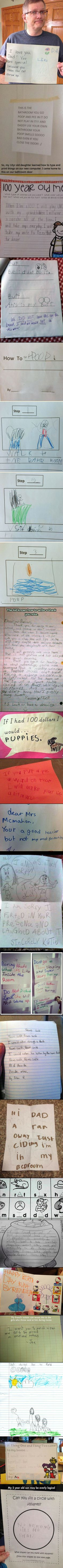Kids can say the darndest things, and these notes are no exception.