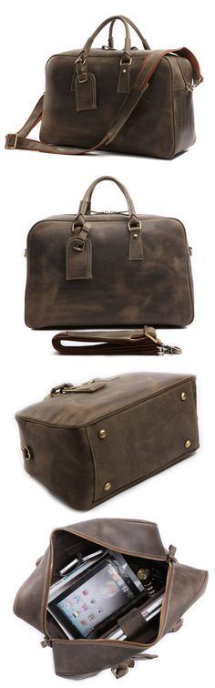 100% Handmade Crazy Horse Leather Business Travel Bag Luggage Baggage Tote Satchel Men's Briefcase