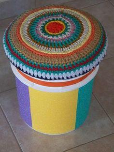Art N Craft, Drum Shade, Outdoor Furniture, Outdoor Decor, Upcycle, Ottoman, Backyard, Crafty, Ideas