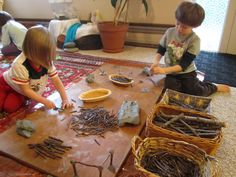 natural building with sticks and clay, what a great way for kids to experiment with manipulating materials to realize their architectural visions in a whole new way that also works to foster a deeper connection to nature and inspire innovative thinking with natural materials.