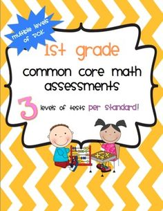 170 PAGE BUNDLE! Includes 3 tests for every first grade Common Core standard including an assessment to see if a student is exceeding the standard. Teaching First Grade, Teaching Math, Teaching Ideas, Educational Activities, Math Activities, School Fun, School Stuff, School Ideas, Math Classroom