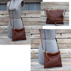 Small Cross Body Leather Bag / Fold Over Leather by FeralEmpire