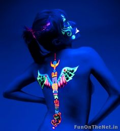 Blacklight Tattoos or Ultraviolet tattoos are done with a special ink that makes them invisible in normal light but come to the fore once viewed under UV light/Blacklight. These new tattoos are also gaining popularity