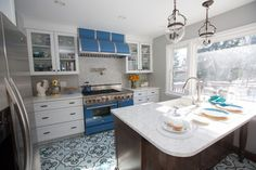 "Cement tile flooring with a 48"" BlueStar Range featured in Chef Aliyyah Baylor's Kitchen."