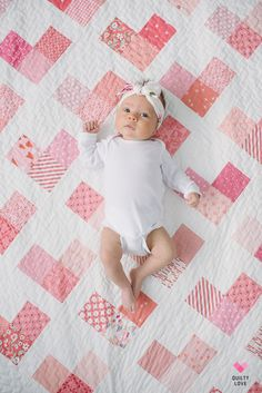 Quilty Hearts Quilt Pattern - A scrappy quilt Quilty Hearts Quilt Pattern - A scrappy quilt - Quilty Love by Emily of . Cute and modern heart quilt pattern includes Baby, throw, twin, queen and king sizes. Fat quarter and fat ei Quilt Baby, Baby Quilts Easy, Baby Quilts To Make, Baby Girl Quilts, Girls Quilts, Baby Girl Blankets, Baby Quilt For Girls, Kid Quilts, Quilts For Babies