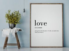 Love Funny Definition Print Printable Poster Wall by printabold