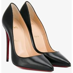 Christian Louboutin So Kate pumps ($565) ❤ liked on Polyvore featuring shoes, pumps, red stilettos, red shoes, black pointy-toe pumps, black leather shoes and black pumps