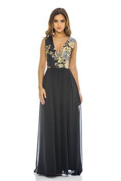 AX Paris Womens Black Floral 2 in 1 V Neck Maxi Dress Stylish Ladies Fashion