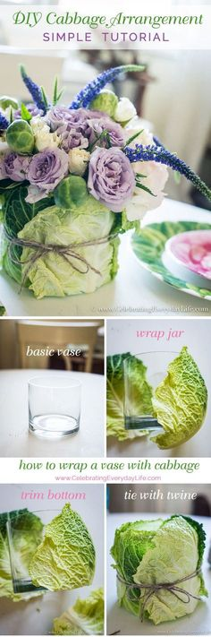 DIY Easter Cabbage Arrangement Tutorial A simple yet stunning Easter centerpiece from the produce aisle? Check out my DIY Easter Cabbage Arrangement tutorial to make this budget bouquet. via Jennifer Carroll @ Celebrating Everyday Life Table Centerpieces, Easter Centerpiece, Table Decorations, Centerpiece Ideas, Wedding Decorations, Spring Decorations, Centerpiece Wedding, Deco Floral, Floral Design