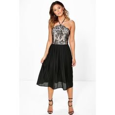 Boohoo Night Betty Lace Top Pleated Skirt Skater Dress ($44) ❤ liked on Polyvore featuring dresses, black, bodycon party dresses, cocktail party dress, lace dress, party dresses and sequin party dresses