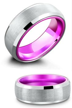He would love this unique tungsten wedding ring with a purple aluminum interior. They also have this mens wedding ring in blue and red.