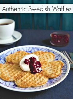 In Sweden, golden waffles with jam signal the coming of spring. Yes, only an Authentic Swedish Waffles Recipe will do! This recipe tastes like Spring! Waffle Recipes, Brunch Recipes, Breakfast Recipes, Breakfast Ideas, Pancake Recipes, Crepe Recipes, Swedish Dishes, Swedish Recipes, Norwegian Recipes