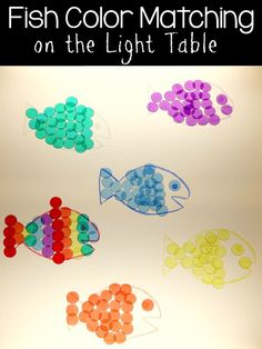 Sticky Fish Color Matching Sort Game on the Light Table from Still Playing School