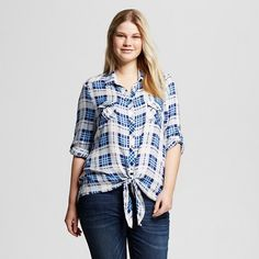 8d54a923583e6 Women s Plus Size Plaid Button Down Shirt White Navy Periwinkle - 3Hearts  (Juniors