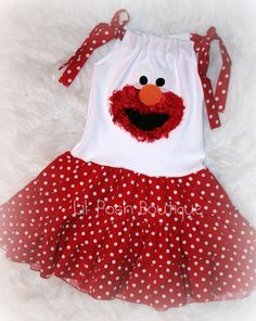 elmo dress for your lil diva to wear at her next Sesame street birthday party