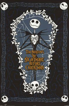 Nightmare Before Christmas Jack Skellington Coffin Movie Poster 22x34