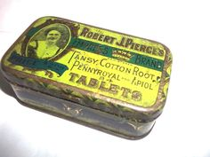 vintage Robert J. Pierce's Pennyroyal Tablets tin Empress Brand  for women #ROBERTJPIERCESTABLETS