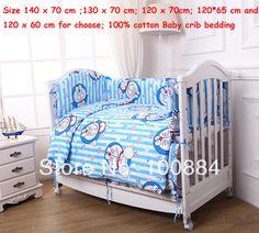 10pc baby nursery bedding sets,Doraemon print boys crib bedding sets,100% Cotton 140 x 70 cm baby crib bedding set for boys