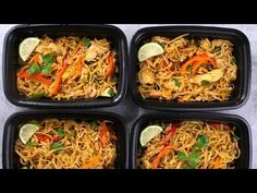 Chicken Pad Thai Meal Prep is a delicious make-ahead lunch or dinner idea that's healthy and less expensive than takeout. See how to make it!