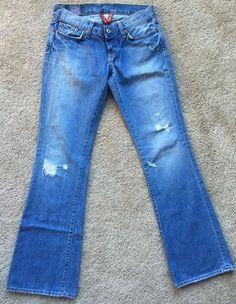 "Lucky Brand Women's Light Wash Distressed Jeans EUC Size 2 26 Waist 30""   eBay"