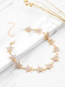 $6---Rhinestone Embellished Star Design Choker