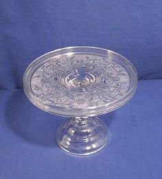 BARRED FORGET-ME-NOT made by Canton Glass Co. #10, Circa 1880s. Cake stand