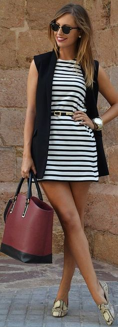 Black And White Nautical Belted Mini Dress by Be Iconic