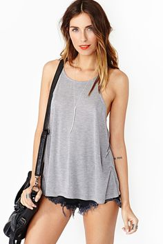 Lace It Tank - Gray