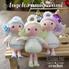Ángeles tejidos a crochet (amigurumi). Los hicimos de colores pastel!Todo el paso a paso esta en nuestra web: tejiendoperu.com