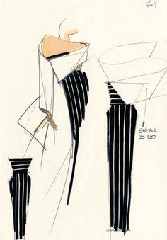 Sketch by Gianfranco Ferrè haute-couture Fall/Winter 1986-1987, courtesy of Gianfranco Ferré Foundation