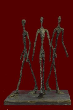 Three Walking Man Tribute To Giacometti Hot Cast Bronze Sculpture Home Decor Figurine Decorative Figure Abstract Statue Lost Wax Method