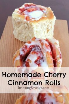Homemade Cherry Cinnamon Rolls An easy recipe for cinnamon rolls from scratch. These Homemade Cherry Cinnamon Rolls are so simple! Who doesn't love waking up to the fresh smell of homemade breakfast. Cherry Desserts, Cherry Recipes, Köstliche Desserts, Delicious Desserts, Dessert Recipes, Yummy Food, Cherry Pie Filling Desserts, Cinnamon Recipes, Baking Recipes
