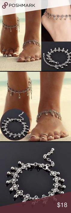 ⭐️ADORABLE BOHO SILVER HANGING BALLS & BEAD ANKLET ⭐️ADORABLE BOHO SILVER PLATED HANGING BALLS & BEAD ANKLET (PLEASE NOTE THAT THIS IS JUST FOR ONE ANKLET NOT TWO AS SHOWN IN THE PICTURE Jewelry
