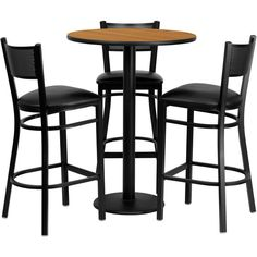 Flash Furniture 30-inch Round Natural Laminate Table Set with 3 Grid... ($433) ❤ liked on Polyvore featuring home, furniture, stools, barstools, black, round pub table, black pub table, metal counter stools, black bar table and heavy duty bar stools