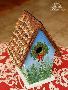 DIY Shingling a bird house using individual pine cone 'scales'