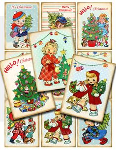 Christmas Tree  digital collage sheet 86 by Lollipopisland on Etsy, $3.75