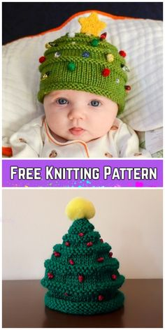 Knit Christmas Tree Hat & Elfin Socks Free Knitting Pattern by Patti Pierce St. hat free simple Knit Christmas Tree Hat & Elfin Socks Free Knitting Pattern by Patti Pierce St. Baby Knitting Patterns, Christmas Knitting Patterns, Baby Hats Knitting, Knitting For Kids, Easy Knitting, Loom Knitting, Knitting Projects, Knitted Hats, Crochet Patterns