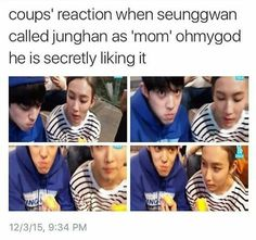 JeongCheol is effin' real. Jeonghan and Seungcheol Seventeen Memes, Seventeen Debut, Woozi, Jeonghan, Vernon Chwe, Haha, Won Woo, E Dawn, Pledis Entertainment