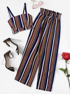 Striped Crop Cami Top With Pants -SheIn(Sheinside) - - Striped Crop Cami Top W. - Striped Crop Cami Top With Pants -SheIn(Sheinside) – – Striped Crop Cami Top With Pants -SheIn(Sheinside) Source by yummrasstylish Source by TrudieShop - Cute Girl Outfits, Cute Casual Outfits, Cute Summer Outfits, Pretty Outfits, Stylish Outfits, Girls Fashion Clothes, Teen Fashion Outfits, Outfits For Teens, Girl Fashion