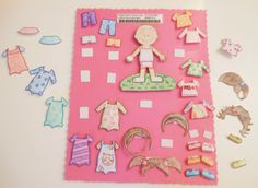"""""""Laminated paper doll with clothes that would stick on with Velcro. The doll and each piece of clothing is stuck to a piece of cardstock with Velcro."""" - I could use the Cricut to cut out all the pieces...oh the fun I will have! :)"""