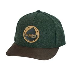 Moment Bright Leather Patch Rock Herringbone Hat - Forest Green