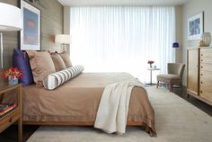 Awesome Penthouse Interior Decoration with the Best Design: Chic Modern Bedroom Brown Bedspread White Curtain Atlanta Penthouse