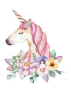 Unicornio y flores