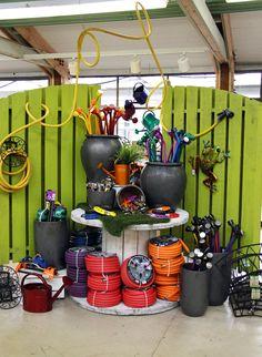 Fun watering display at Molbak's Store Window Displays, Market Displays, Merchandising Displays, Garden Nursery, Plant Nursery, Shop Interior Design, Retail Design, Garden Center Displays, Garden Shop