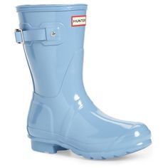 Women's Hunter 'Original Short' Gloss Rain Boot (£105) ❤ liked on Polyvore featuring shoes, boots, pale blue, welly boots, wellington boots, short welly boots, rubber boots and polishing boots