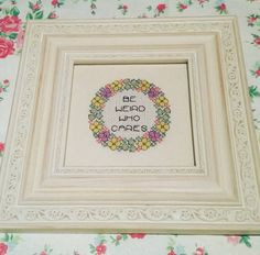 Be weird. Who cares. Finished and framed cross by Haft4Life