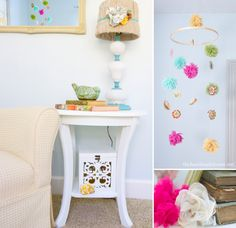 how to make a mobile | the handmade home -- how to use embroidery hoop as a mobile!!! What I've been looking for!