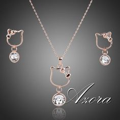 Lovely Rose Gold Plated Austrian Crystal Jewelry Set