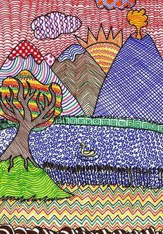 Graphic Perspective and Autumn Colors - Kadarik Art Hours Line Art Projects, School Art Projects, 6th Grade Art, Ecole Art, Art Drawings For Kids, Middle School Art, Art Lessons Elementary, Elements Of Art, Art Lesson Plans